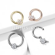 Implant Grade Titanium Hinged Segment Hoop Rings with CZ Flower
