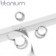 Implant Grade Titanium Hinged Segment Hoop Rings with CNC Set Double Lined CZ