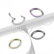 Implant Grade Titanium CZ Line Oval Hinged Segment Ring
