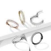 Implant Grade Titanium Hinged Segment Hoop Ring with Outward Facing Double-Lined CZ