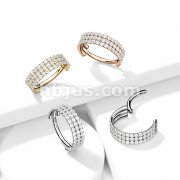 Implant Grade Titanium Hinged Segment Hoop Ring with Outward Facing Triple-Lined CZ