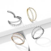 Implant Grade Titanium Hinged Segment Hoop Ring with Separating Double Lined CZ