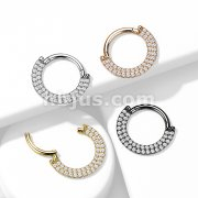 Implant Grade Titanium Hinged Segment Hoop Rings with CNC Set Double Lined CZ Paved Front