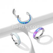 Implant Grade Titanium Hinged Segment Ring with Outward Facing Wide Opal