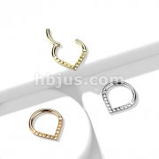Implant Grade Titanium Hinged Segment Hoop Ring with Lined Pyramid Cuts