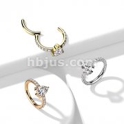 Implant Grade Titanium Hinged Segment Hoop Ring with CZ Teardrop Center and CZ Paved Sides