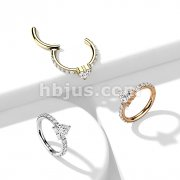 Implant Grade Titanium Hinged Segment Hoop Ring with CZ Heart Center and CZ Paved Sides