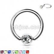 Press Fit Gem Ball 316L Surgical SteelCaptive Bead Ring