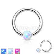 Synthetic Opal Stone 316L Surgical Steel Captive Bead Ring