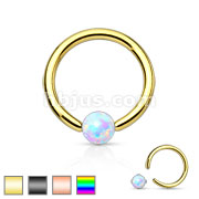 Synthetic Opal Stone Iron Plating over 316L Surgical Steel Captive Bead Ring