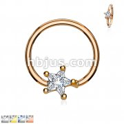 Prong Set Star CZ Captive Rings 316L Surgical Steel