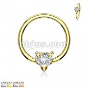 Multi Directional CZ Heart 316L Surgical Steel Captive Bead Ring