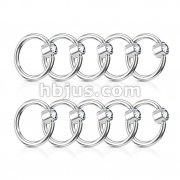 100 Pcs Clear Gem Flat Set 316L Surgical Steel Hoop Rings Bulk Pack