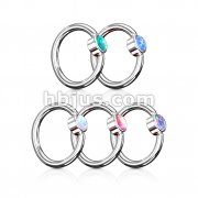 50 Pcs Opal Flat Set Bead Captive 316L Surgical Steel Hoop Rings Bulk Pack (10 Pcs x 5 Colors)