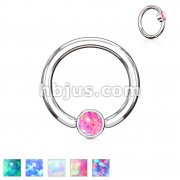 Opal Set Round Flat Cylinder Captive Hoop Rings 316L surgical Steel