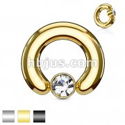 Large Gauge Crystal Set Round Flat Cylinder Captive Rings 316L surgical Steel