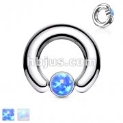 Opal Set Large Gauge Round Flat Cylinder Captive Rings 316L surgical Steel