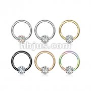 60 Pcs Crystal Paved Ball Captive Rings 316L Surgical Steel