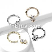 3 CZ Cluster Round Flat Ball 316L Surgical Steel Captive Bead Ring