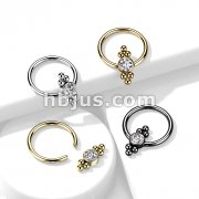 CZ Flat Ball with Clusters On Each Side 316L Surgical Steel Captive Bead Ring