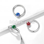 Eyeball Inlaid Round Flat Cylinder 316L Surgical Steel Captive Rings