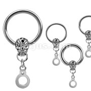 Skull and Handcuff Dangle CBR  316L Surgical Stainless Steel New 16ga Added