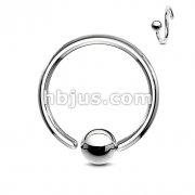 One Side Fixed Ball Ring 316L Surgical Steel. Perfectly Annealed
