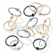 100 Pcs One Side Fixed Ball Twisted Rope PVD over 316L Surgical Steel Nose Hoop  Rings (20 Pcs x 5 Colors)