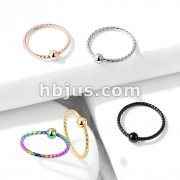 One Side Fixed Ball Twisted Rope 316L Surgical Steel  Hoop Rings for Ear Cartilage, Nose and Mor