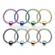 140 Pcs Fixed Ball Closure Rings Bulk Pack. Mixed IP colors over 316L Surgical Steel (20 pcs x 7 Colors