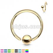 One Side Fixed Ball Ring IP Over 316L Surgical Steel For Ear Cartilag, Nose and More