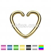Heart Cut Ring IP Plated Over 316L Surgical Steel for Cartilage/Tragus/Daith and More