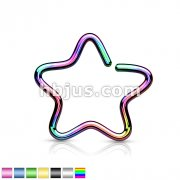 Single Closure Star Ring Titanium IP Over 316L Stainless Steel Fake Non-Piercing Cartilage