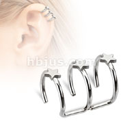 Stars on Fake Non-Piercing Cartilage 'Clip-On' Triple Closure Ring 316L Surgical Steel