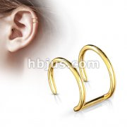Double Closure Ring Gold IP Over 316L Surgical Steel Fake Non-Piercing Cartilage 'Clip-On'