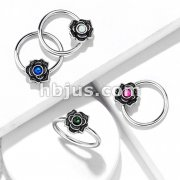 Opal Glitter Centered Flower Captive 316L Surgical Steel Hoop Rings