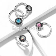 Crystal Centered Filigree Captive 316L Surgical Steel Hoop Rings