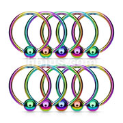 10PC Rainbow Titanium IP Over 316L Surgical Steel Captive Bead Ring Package