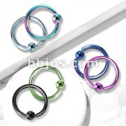 Captive Bead Ring Titanium Ion Plated Over 316L Surgical Stainless Steel