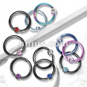 Titanium IP Over 316L Surgical Stainless Steel Captive Bead Ring with gem