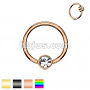 Crystal Set Round Flat Cylinder Captive Rings IP Over 316L Surgical Steel