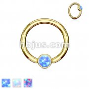 Opal Set Round Flat Cylinder Captive Rings Gold IP Over 316L surgical Steel