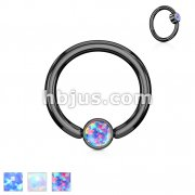Opal Set Round Flat Cylinder Captive Rings Blac IP Over 316L surgical Steel