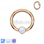 Opal Set Round Flat Cylinder Captive Rings RoseGold IP Over 316L surgical Steel
