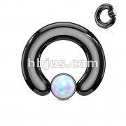 White Opal Set Large Gauge Round Flat Cylinder Captive Rings Black IP Over 316L surgical Steel