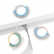 Turquoise and CZ Double Lined Bendable Hoops for Ear Cartilage, Daith, Nose Septum and More