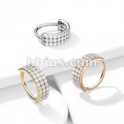Triple Lined Half Circle with Embedded CZ Bendable Hoop