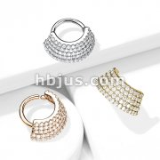5 CZ Lined  Angled Plate Bendable Hoop for Septum, Daith, Ear Cartilage, and More
