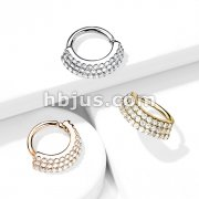 3 CZ Lined Angled Plate Bendable Hoop for Septum, Daith, Ear Cartilage, and More