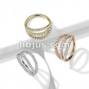 Triple Lined Micro Set CZ Bendable Hoops